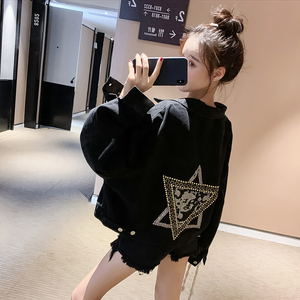 YF13137# 新款ins潮韩版宽松小个子网红学生蝙蝠型短款牛仔外套女 服装批发女装直播货源
