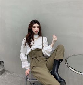 FS99974#  韩国早秋帅气骑马装设计感背带裤+圆领减龄泡泡袖衬衫