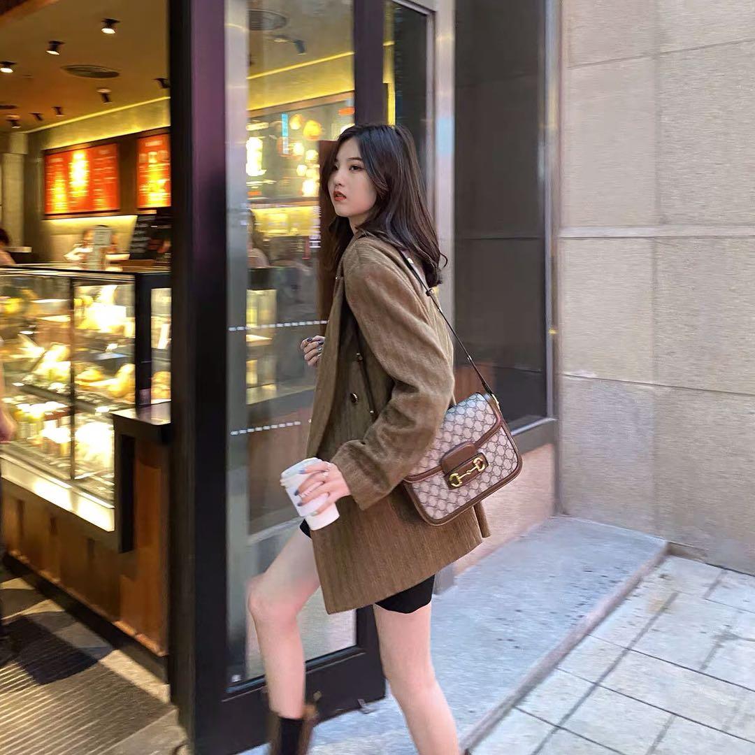 小玉酱毛呢西装外套女2020秋冬新款复古棕色条纹网红韩版呢子西服-可可家-