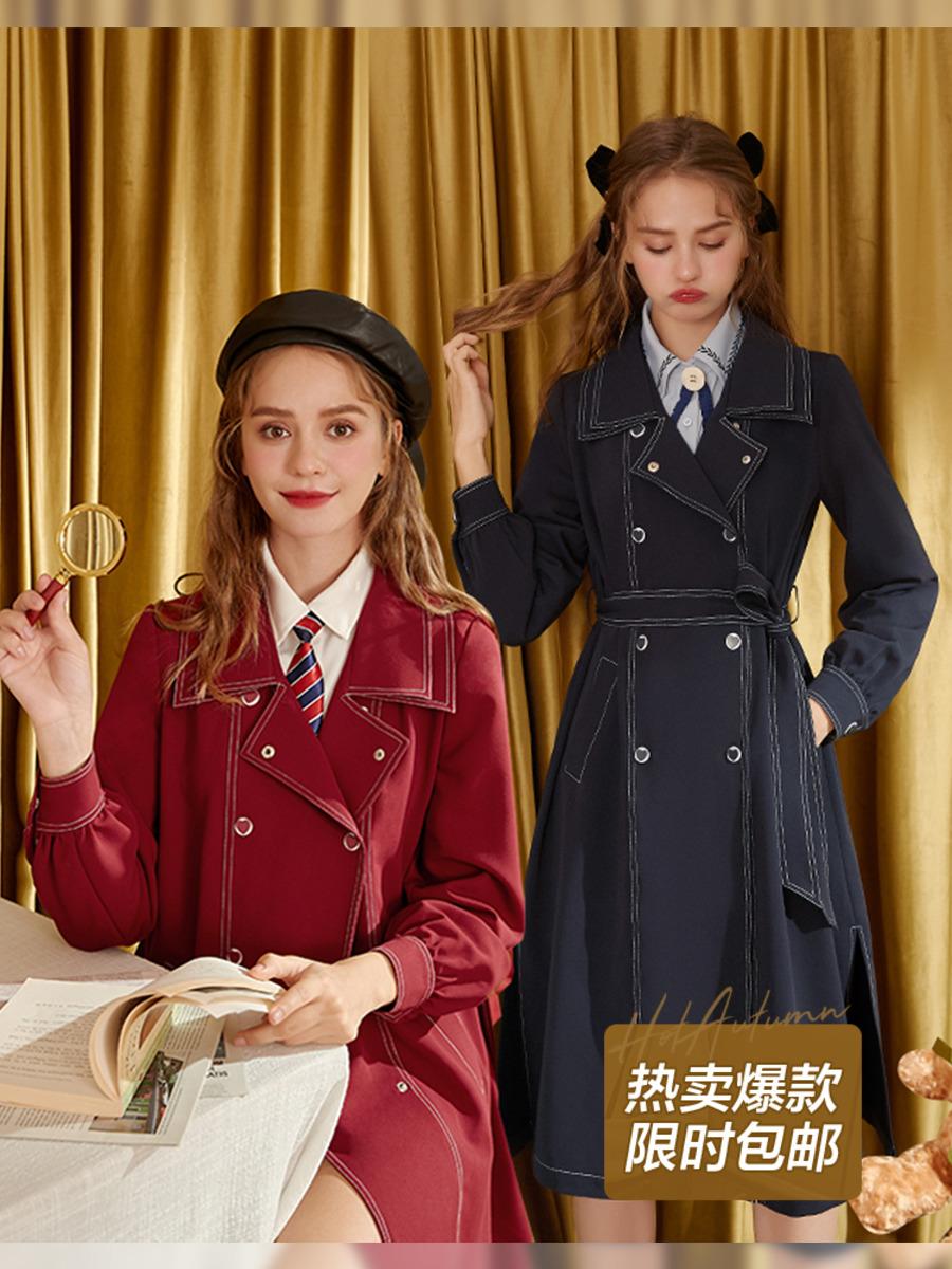 MG小象系带风衣女韩版宽松2020新款中长款小个子秋季显瘦气质外套-言言服饰-