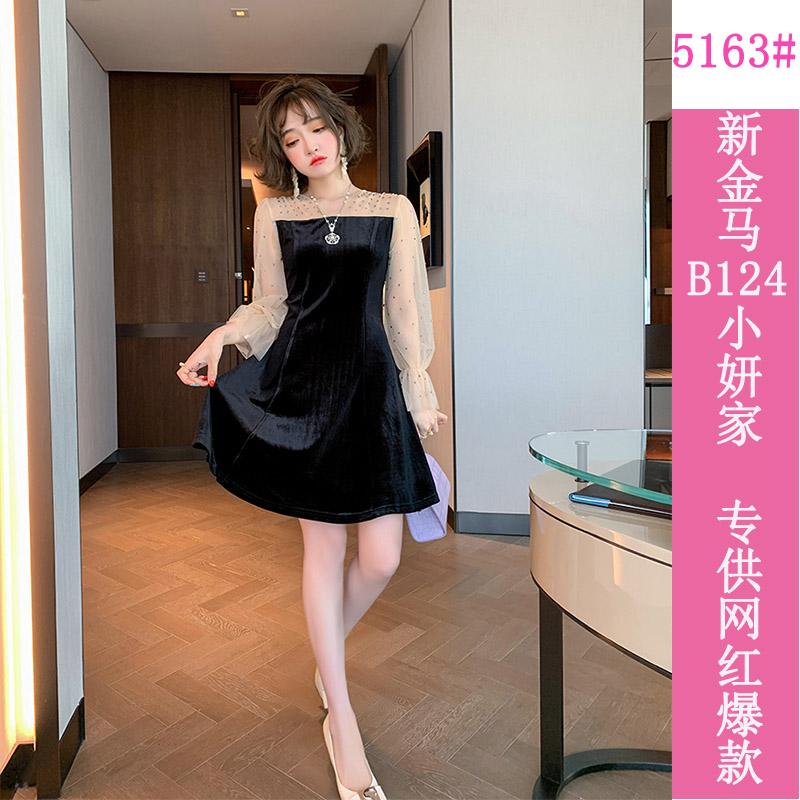 小个子连衣裙2020秋装新款女时尚网纱拼接气质高腰显瘦短款a字裙-小妍家-