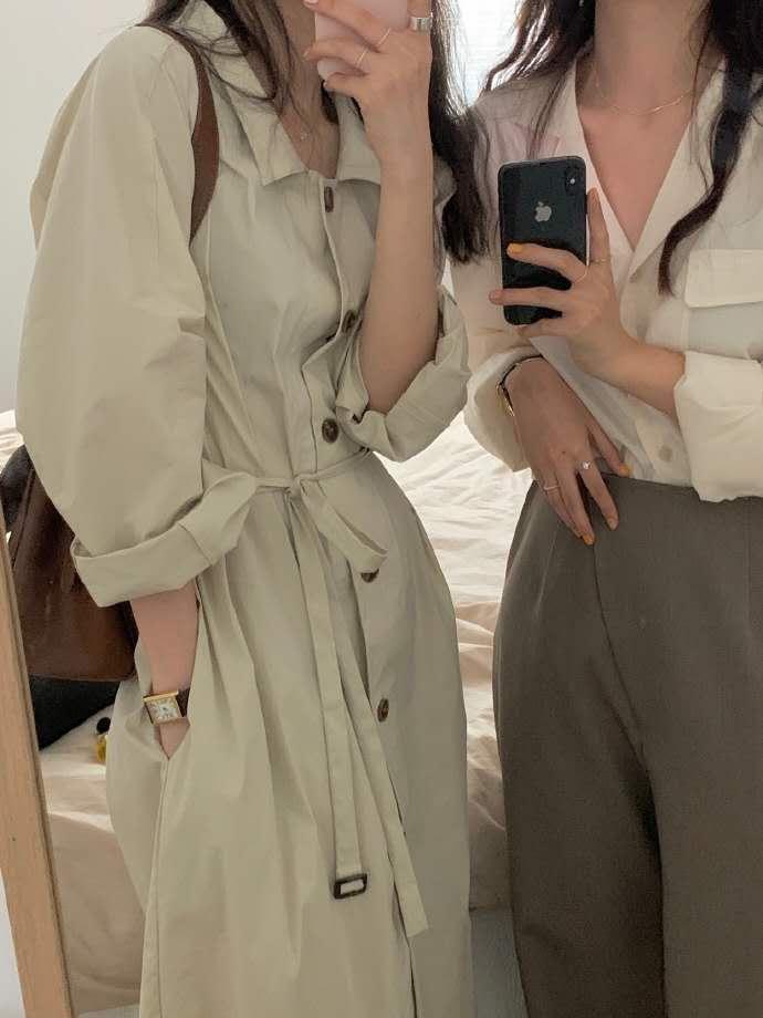HEYGIRL黑哥 韩版宽松中长款风衣女 收腰显瘦气质过膝薄款外套秋-诺娜印象GO-