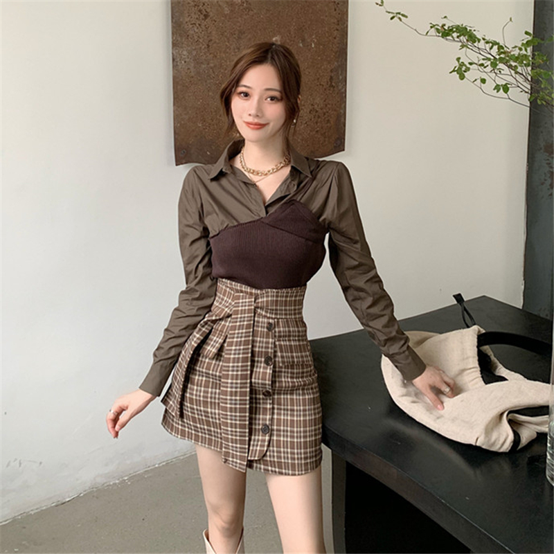 实拍实价~2020秋季新款衬衫女POLO领拼接针织修身假两件+格子短裙-希希小姐-