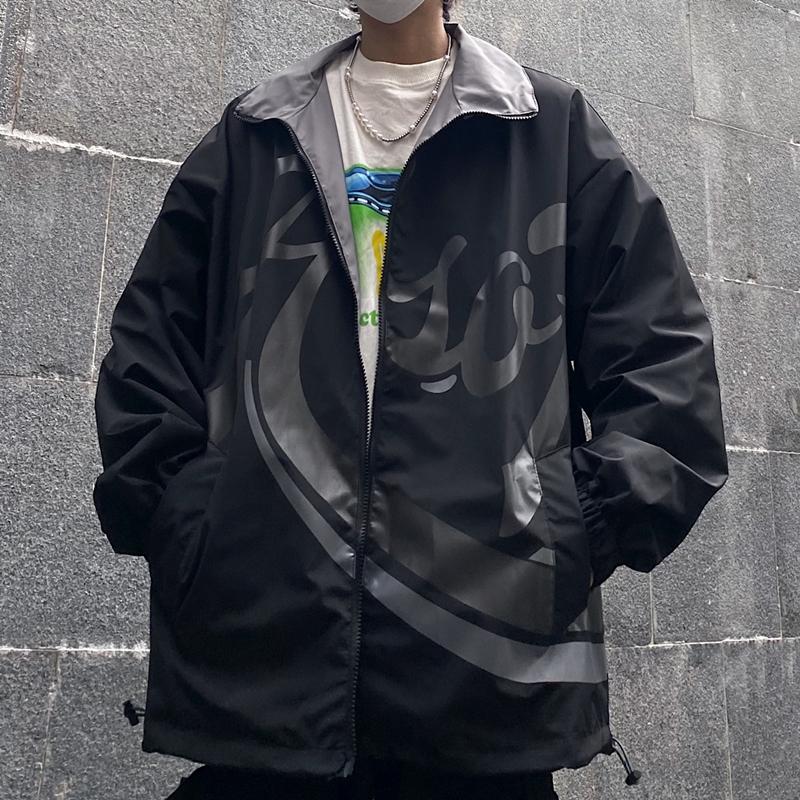 原创77控韩国ins潮流男女外套风衣夹克拉链开胸宽松复古暗黑印花-face潮牌-