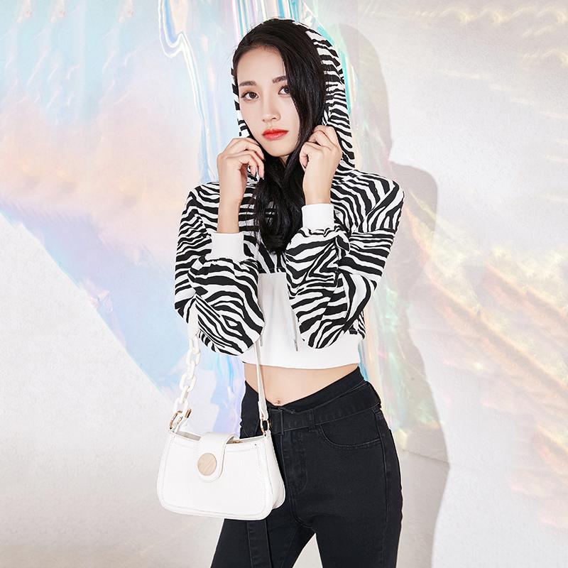 2020秋装韩版新款女装小个子修身显瘦斑马纹卫衣性感短款连帽上衣-廷禧服饰-