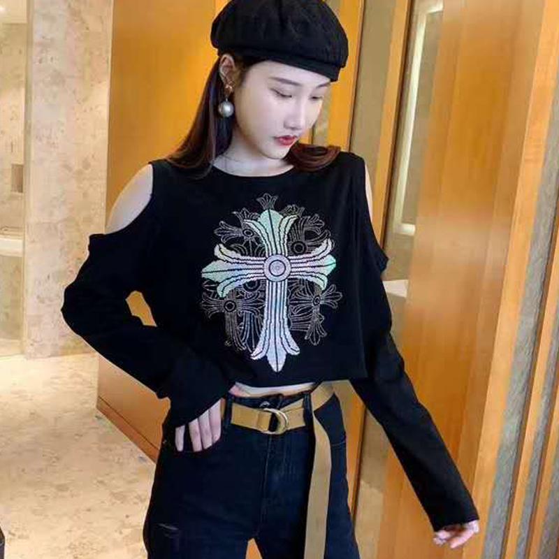 大量现货热卖时尚网红2020秋新款十字架烫钻长袖T恤女复古上衣潮-朵美服饰-