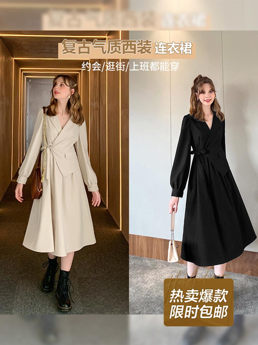 MG小象法式复古气质连衣裙女秋装2020新款设计感长袖收腰西装裙子-言言服饰-