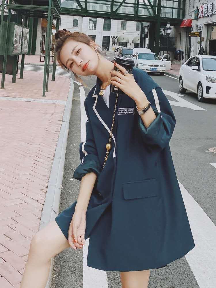 小西装外套女2020春秋新款韩版宽松学院风复古休闲气质西服女上衣-蓝依阁服饰-
