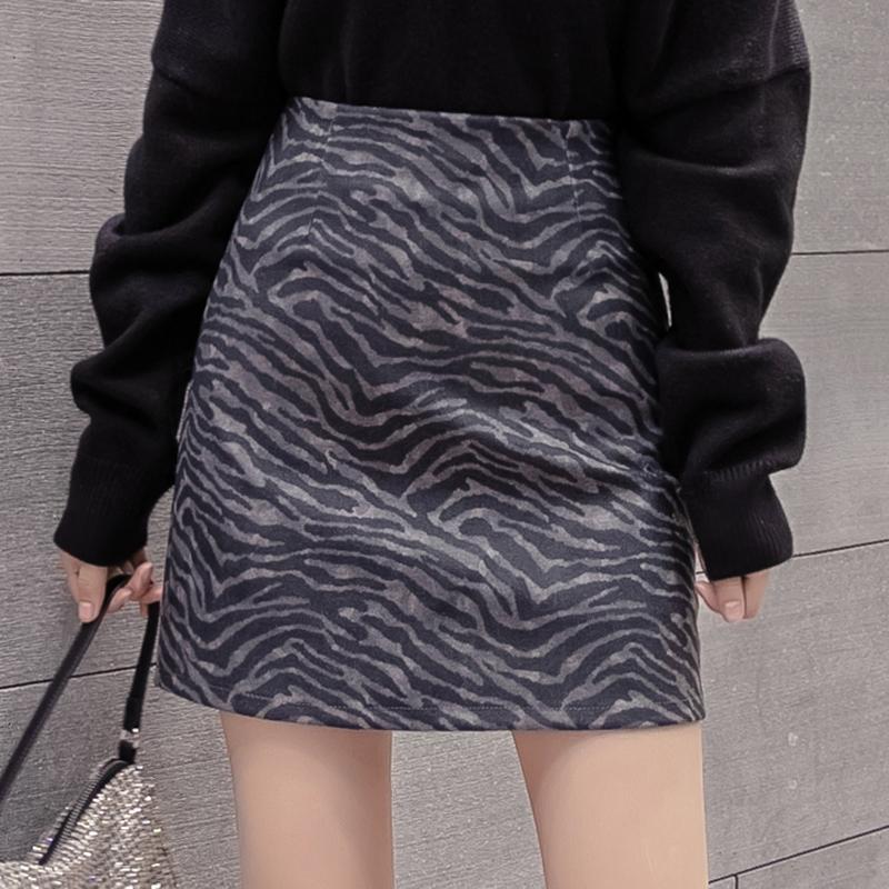 实拍斑马纹半身裙包臀裙子女新款秋冬高腰一步裙女毛呢a字短裙子-MGM-8度服饰-
