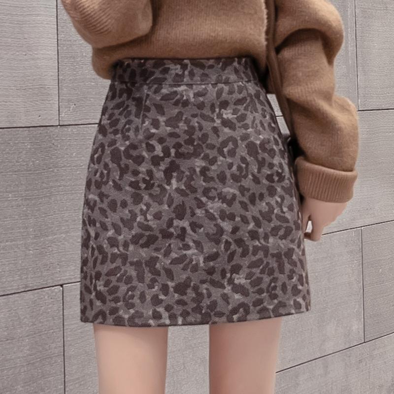 实拍豹纹半身裙包臀裙子女新款秋冬高腰一步裙女毛呢a字短裙子-MGM-8度服饰-