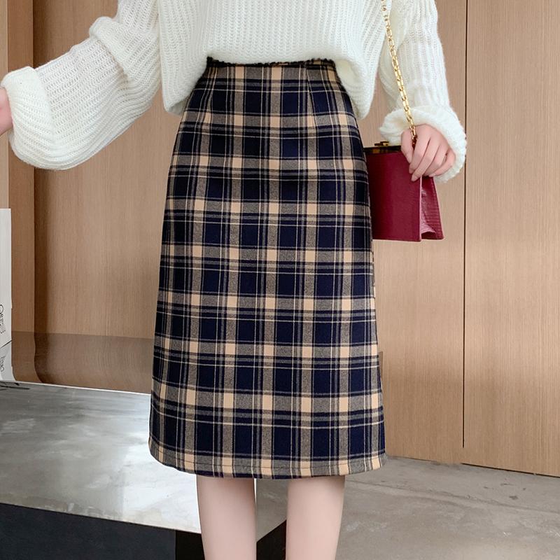实拍磨毛格子毛呢子开叉裙高腰包臀半身裙中长款秋冬新款A字裙-MGM-8度服饰-