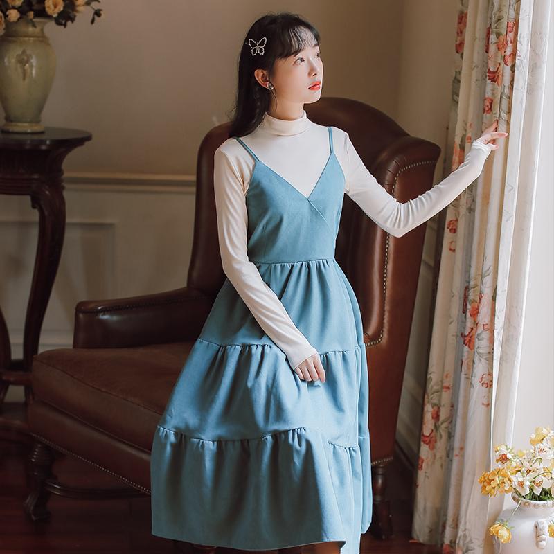 模特实拍现货收腰显瘦学生闺蜜吊带裙套装两件套-芷昕实拍店-