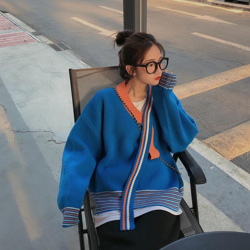 实拍实价 秋冬新款宽松慵懒文艺撞色飘带套头毛衣长袖针织衫女-金大地-