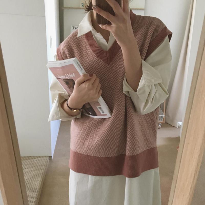 原创实拍实价 韩国chic复古提花撞色V领背心毛衣开叉马甲坎肩女-金大地-