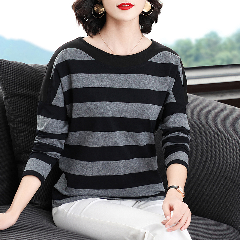 条纹长袖t恤女纯棉宽松2020年秋装新款中老年女式打底衫妈妈上衣-香娅图-