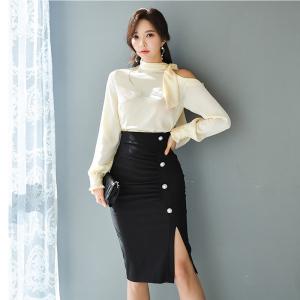 FS97954# 韩版露肩丝绸质感时尚衬衣+高腰显瘦包臀裙 服装批发女装直播货源