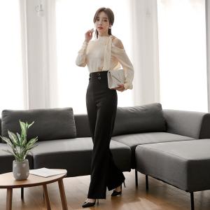 FS97955# 韩版露肩丝绸质感时尚衬衣+高腰长裤套装 服装批发女装直播货源