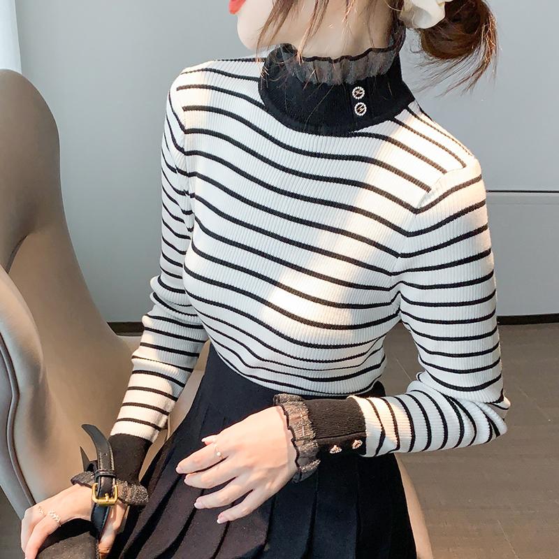 实拍现货半高领毛衣女秋冬装2020新款韩版修身显瘦条纹打底针织-棉爆爆-