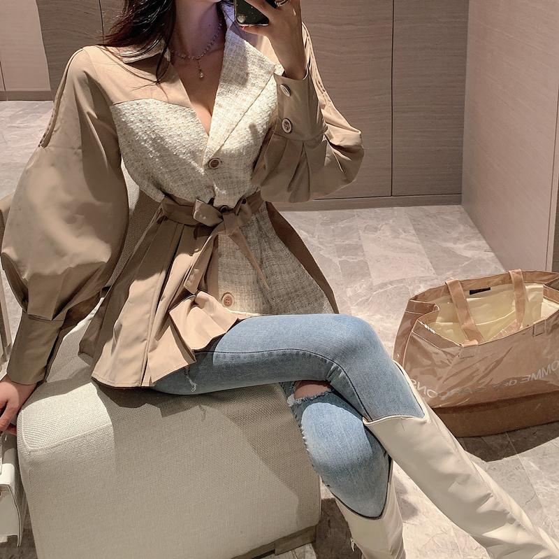 实拍实价 韩版拼色时髦法式气质泡泡袖小香风外套女-JM女装-