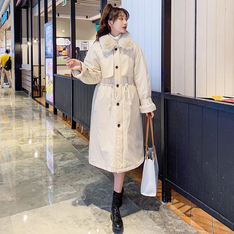 实拍2020冬季派克服女韩版宽松冬外套风衣新款羊羔毛长款棉服-千姿秀羽绒服-