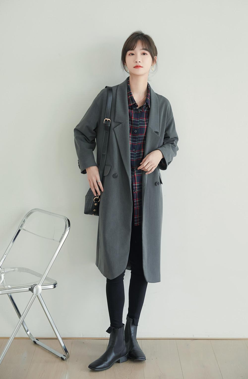 实拍2020秋冬新款西装领风衣外套女冷淡风宽松过膝中长款西服大衣-奈斯女装-