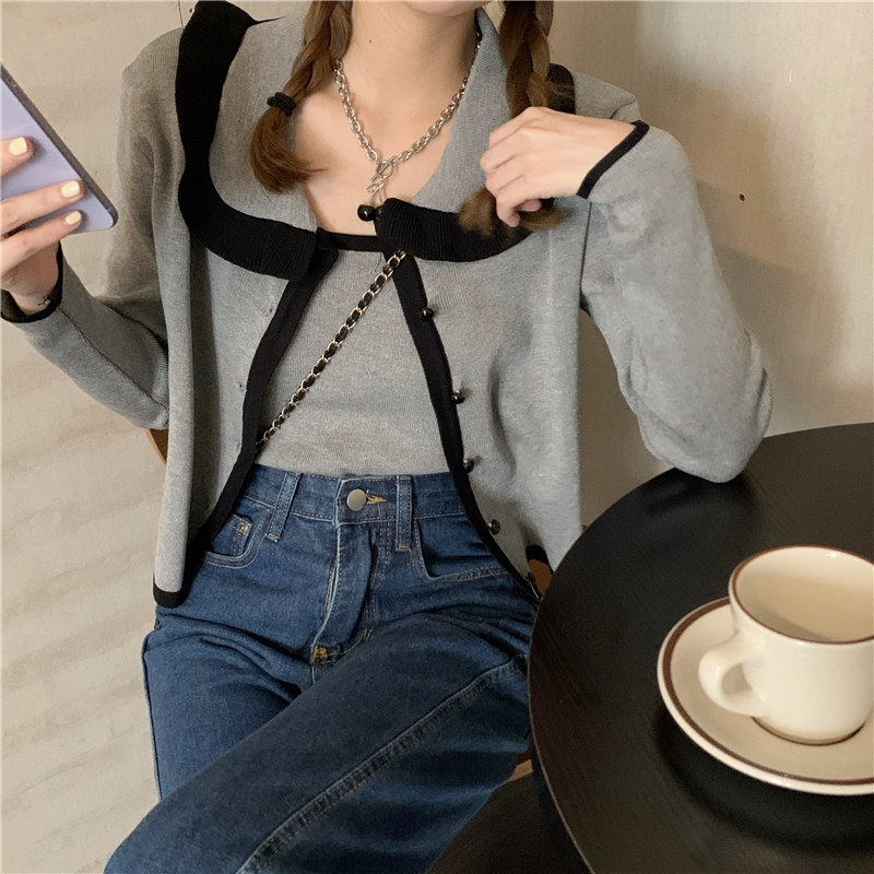 实拍实价 韩版新款撞色短款翻领针织开衫+吊带内搭小背心两件套-五阿哥-