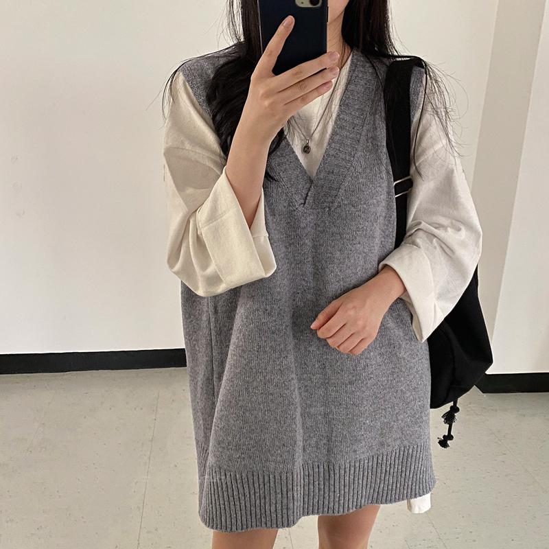 原创保护实价 韩国chic秋季V领叠穿无袖毛衣马甲针织连衣裙配腰带-金大地-