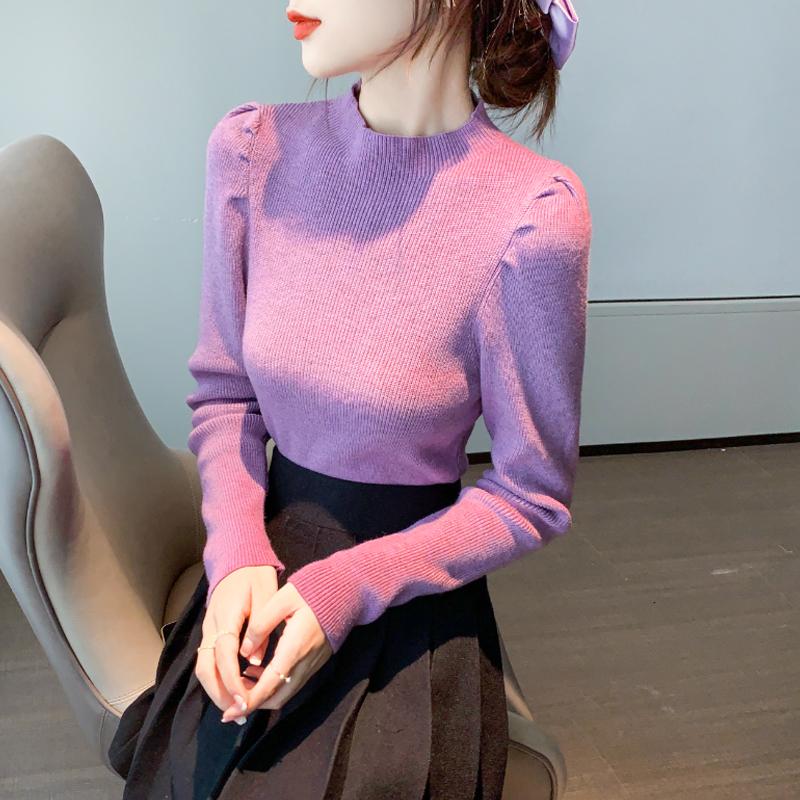 半高领毛衣打底衫女士2020初秋冬新款显瘦内搭保暖针织衫长袖上衣-棉爆爆-