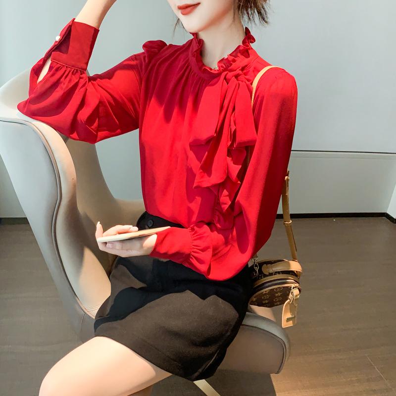 现货实拍雪纺衬衫女装秋装2020年新款红色洋气小衫长袖上衣服百搭-棉爆爆-