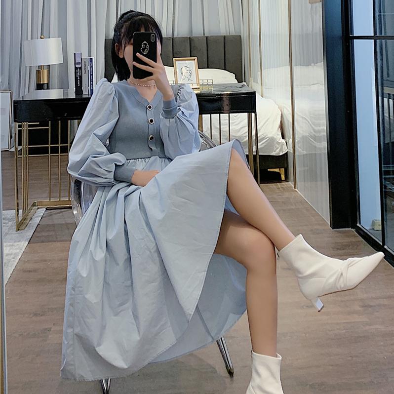 RPIN秋季气质V领长袖拼接衬衫裙修身显瘦气质大摆中长款公主裙仙-卡嫚妮服饰-