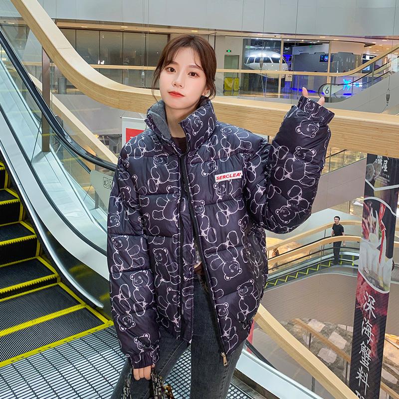 实拍羽绒服棉衣女学生森系韩版外套2020小熊印花宽松面包服棉服女-千姿秀羽绒服-