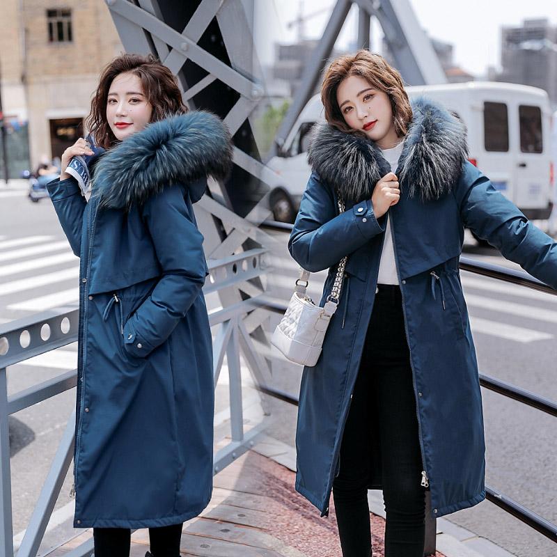实拍新款羽绒服女韩版大码女装派克服长款过膝加厚棉服外套女-千姿秀羽绒服-