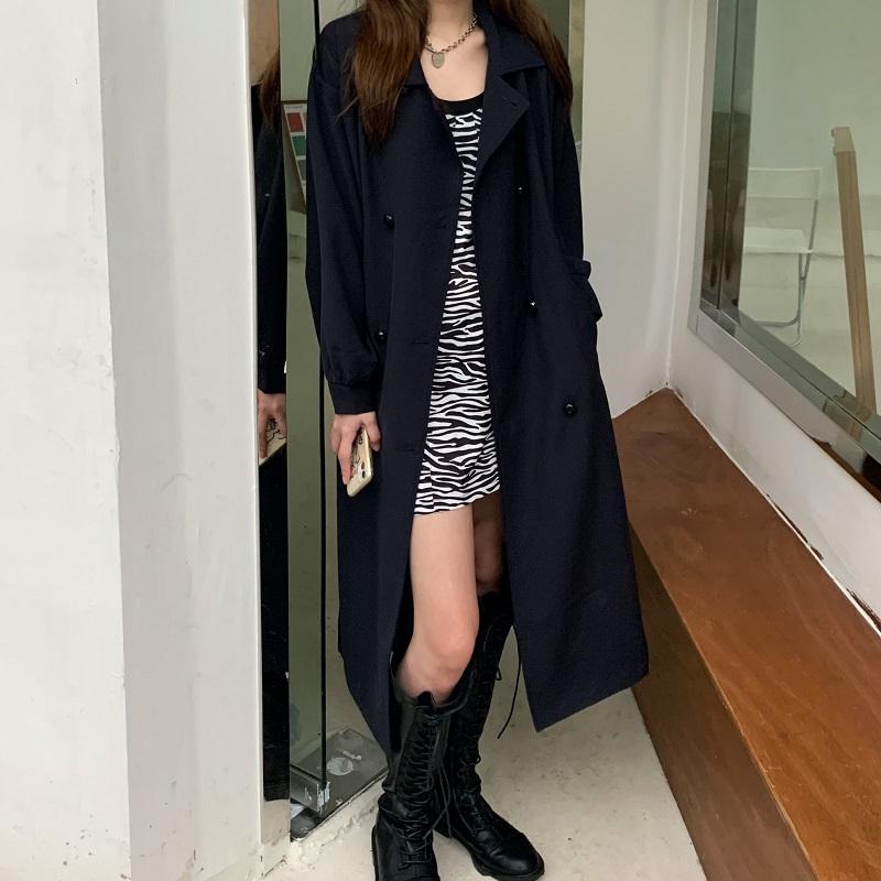 实拍实价~气质风衣女中长款2020新款暗黑风韩版宽松显瘦外套潮-DuDu督督家-