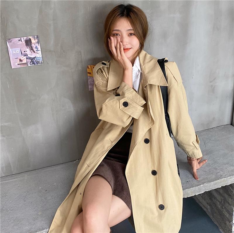 实拍实价 韩版宽松气质中长款双排扣风衣外套-Miss W-米思家-