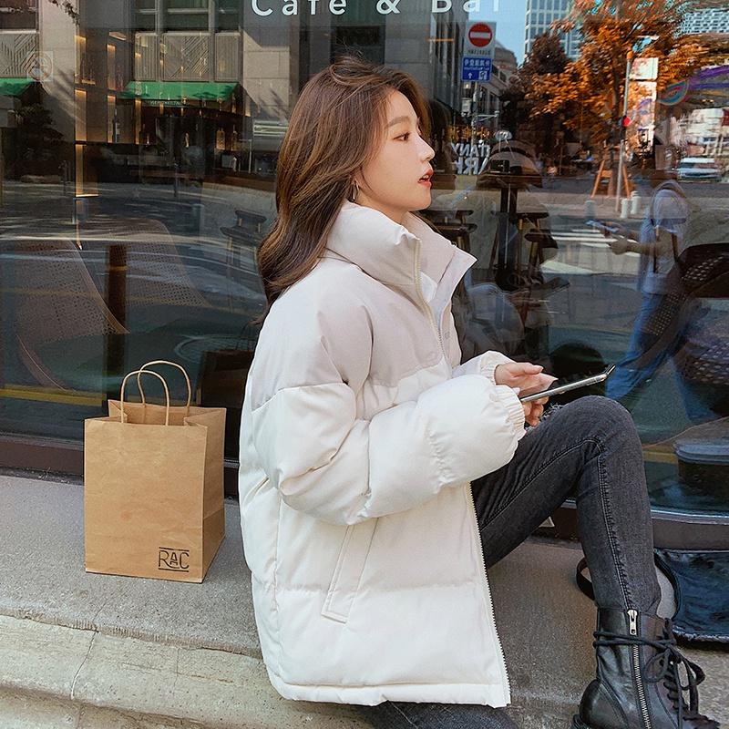 实拍韩国新款羽绒服女原宿风棉服学生休闲面包服拼色短款棉服外套-韩尚依品羽绒服-