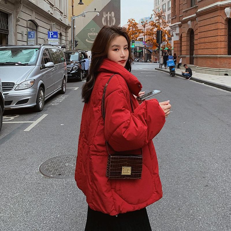 实拍2020韩国新款羽绒服女短款网红立领面包服宽松韩版棉服外套-韩尚依品羽绒服-