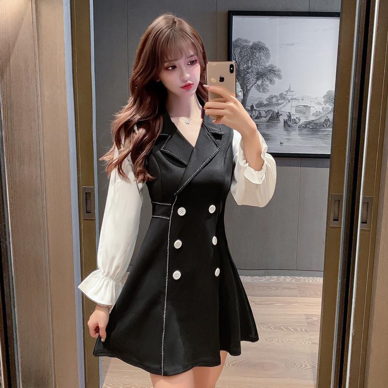 2020秋季新款赫本风撞色收腰连衣裙长袖小黑裙-珍莉雅-