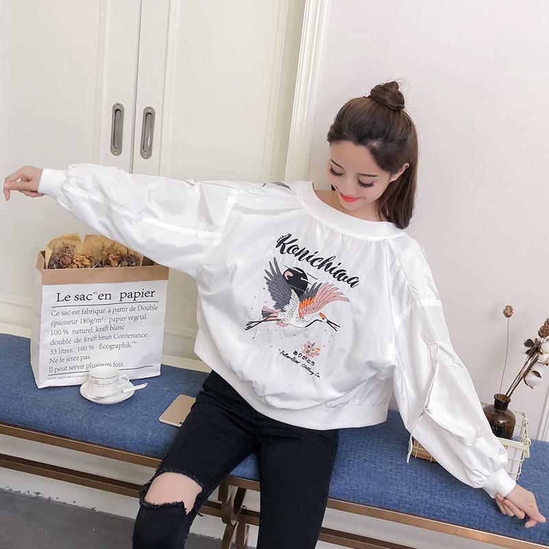 实拍春秋季外套女白色刺绣棒球服2020新款韩版百搭短款潮流夹克-魅依依棒球服牛仔外套-