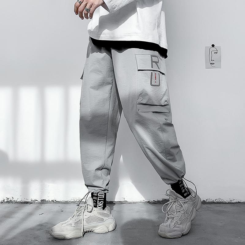 2020潮牌新款工装裤男韩版bf休闲百搭日系直筒裤青年宽松九分帅气-坏先生服饰-
