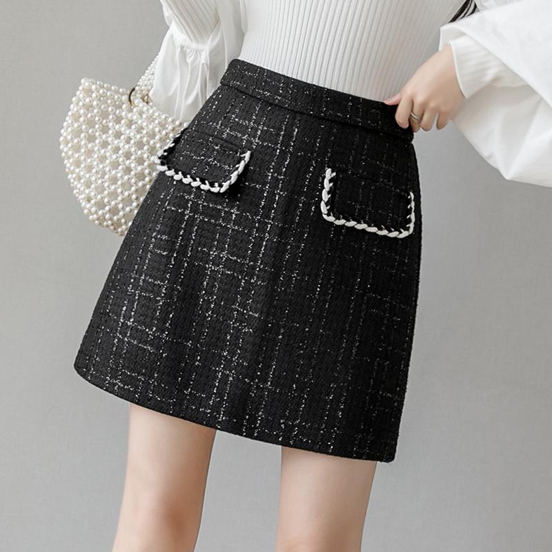 实拍毛呢格子半身裙女秋冬新款时尚高腰显瘦a字裙呢子包臀短裙子-MGM-8度服饰-
