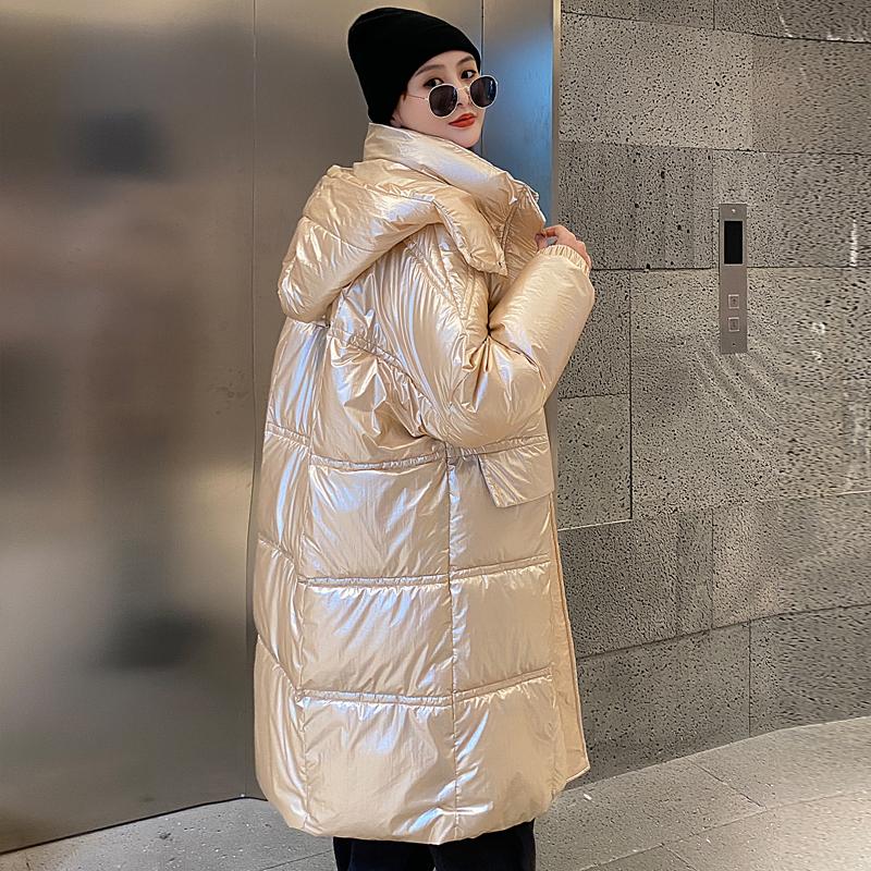 实拍雪梨同款2020冬装新款羽绒服女亮面长款过膝宽松面包服外套女-艾尚梦颖羽绒服-