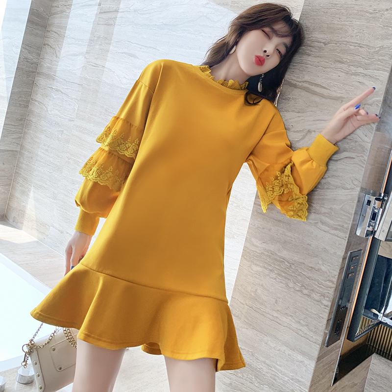 蕾丝拼接卫衣裙子2020秋季新款圆领套头宽松显瘦加绒长袖连衣裙女-雨诺服饰-