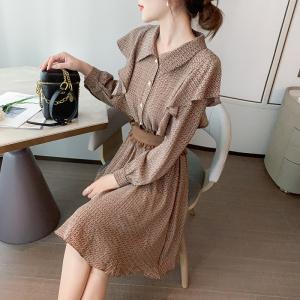 YF12563 秋冬新款碎花裙子长袖连衣裙女+腰带两件套 服装批发女装直播货源