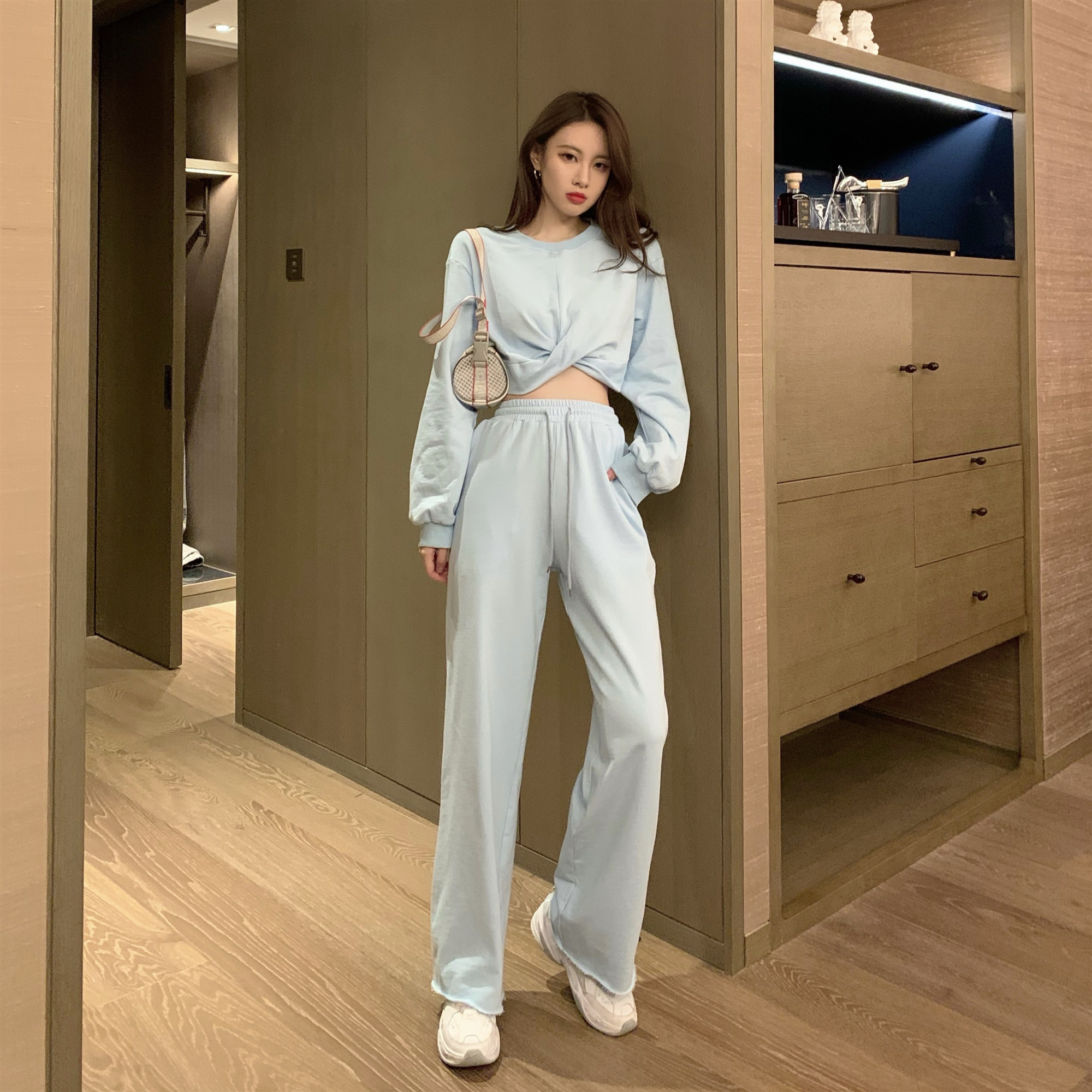 实拍实价 新款纯色短款卫衣女直简休闲长裤蓝色套装-小红猪XHZ-