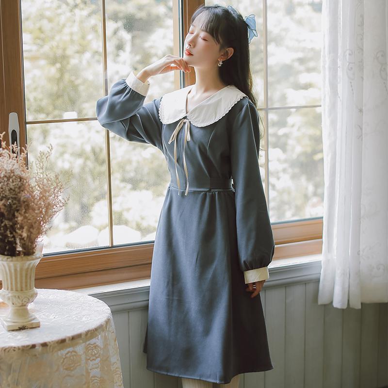 模特实拍 文艺复古娃娃领绑带连衣裙 不低于98-芷昕实拍店-