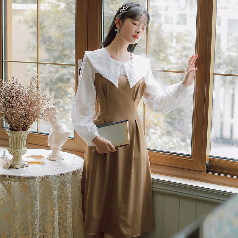 模特实拍 不低于98 有大图视频 大翻领蕾丝拼接假两件 文艺连衣裙-芷昕实拍店-