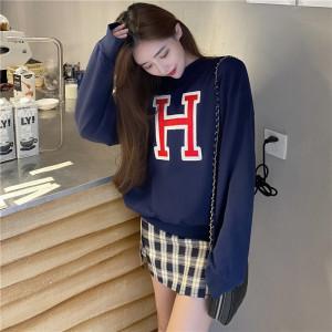 YF25763# 韩国东大门ZUI爱BABY酱悄悄入个秋WEAR一个H字母深蓝色! 服装批发女装直播货源
