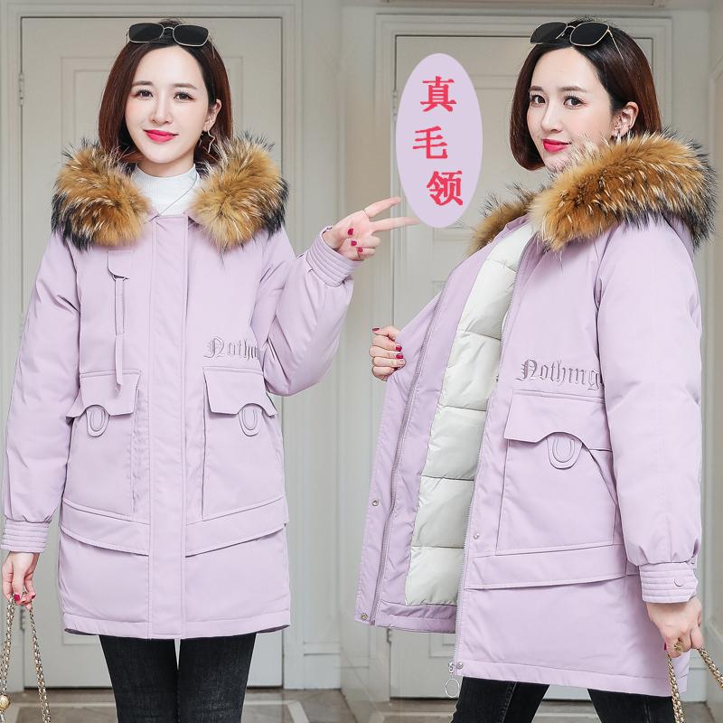 实拍2020冬季羽绒服女新款韩版中长款宽松真毛领棉衣休闲复古棉服-依之秀羽绒服-