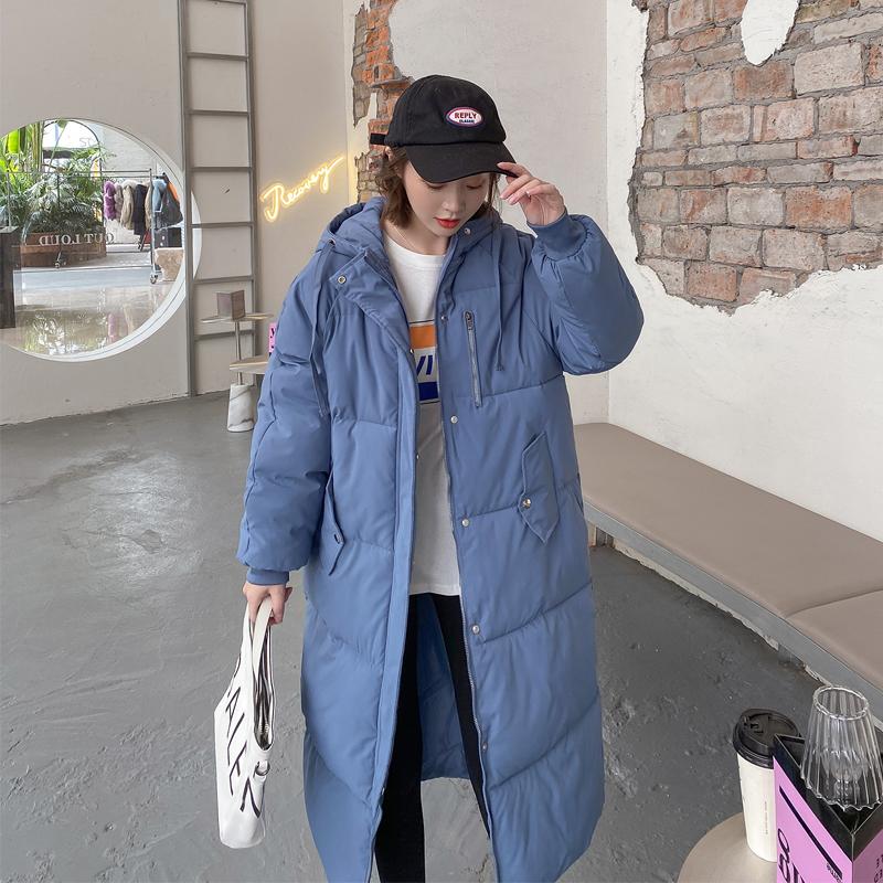 实拍2020韩版羽绒服女新款宽松休闲面包服连帽长款过膝棉服外套-韩尚依品羽绒服-