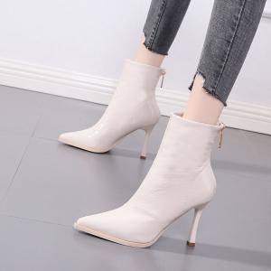 X-24531# 瘦瘦靴网红百搭细跟尖头中筒靴秋季新款黑色高跟短靴马丁靴女鞋批发鞋子批发